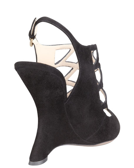 Suede Cage Slingback Wedge