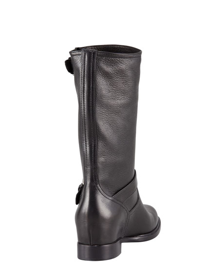 Leather Double-Buckle Internal Wedge Boot