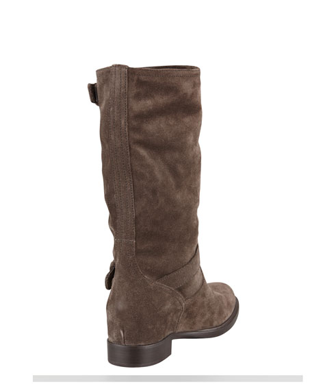 Suede Double-Buckled Internal-Wedge Boot