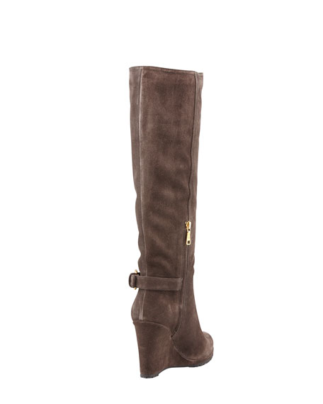 Suede Buckled Wedge Boot