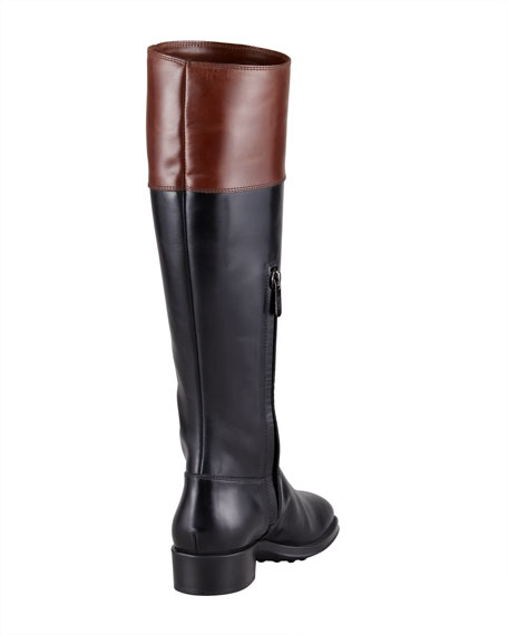Two-Tone Leather Riding Boot