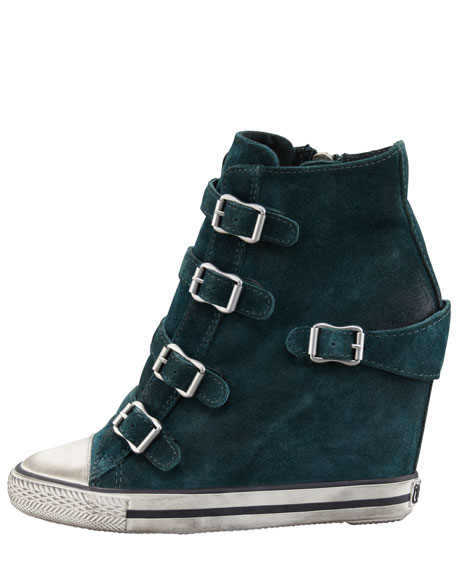 Buckled Suede Wedge Sneaker