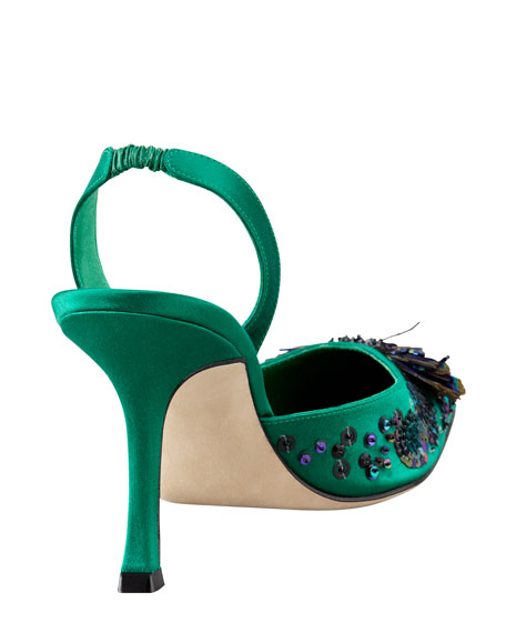Carolyne Peacock Feather High-Heel Halter Pump