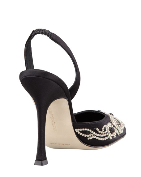 Carolyne Beaded Satin High-Heel Halter