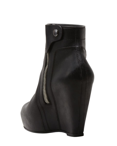 Leather Wedge Bootie
