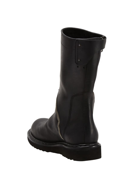 Asymmetric-Zip Motorcycle Boot