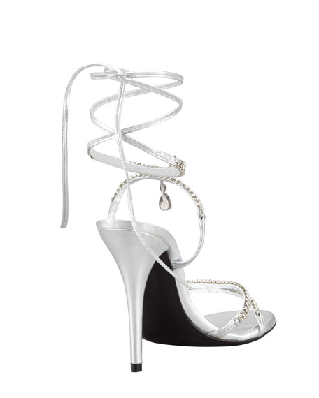 Milliona Jeweled Ankle-Wrap Sandal
