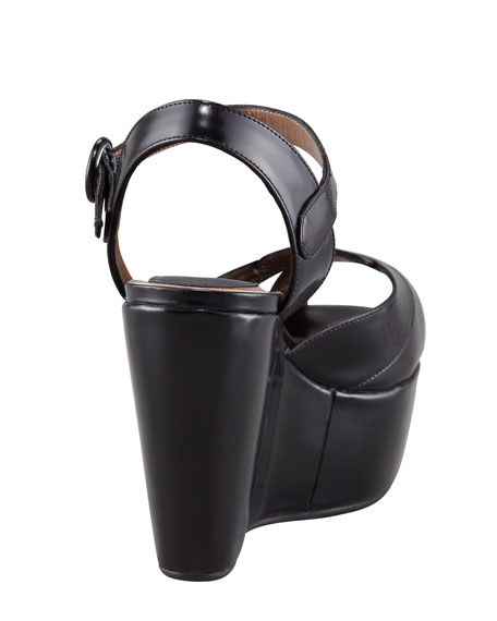 Peep-Toe Ankle-Strap Platform Sandal