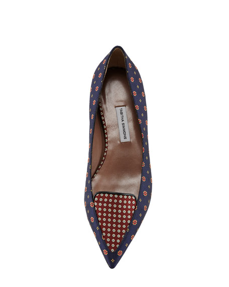 Alexa Pointed-Toe Tie Silk Flat