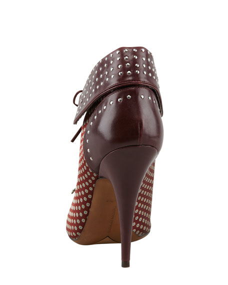 Wicked Tie-Silk & Leather Bootie
