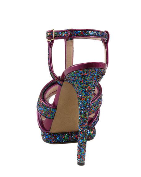 Glittered T-Strap Platform Sandal