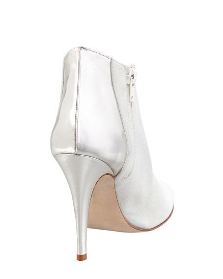 Maleeba Metallic-Heeled Bootie, White/Silver