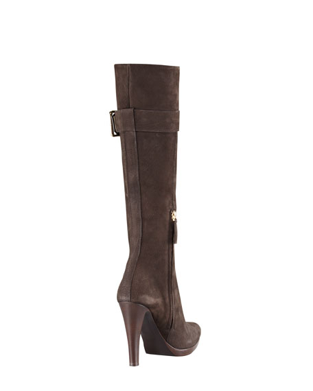 Buckled Suede Knee Boot