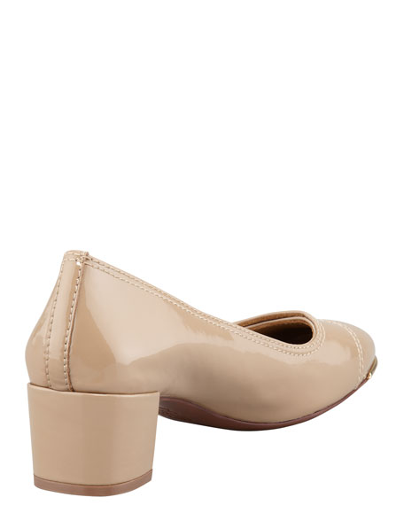 Marion Patent Leather Pump, Clay Beige