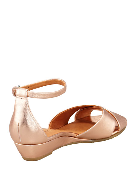 Metallic Napa Wedge Sandal, Rose Gold