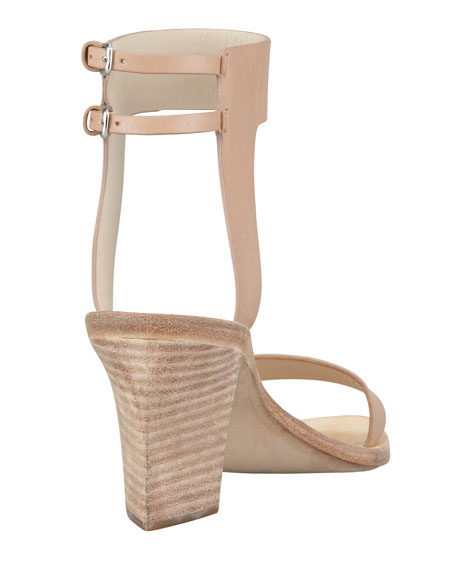 Ariel Hooded Mid-Heel Sandal, Almond