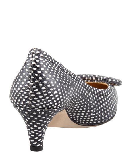 simon snake-print kitten-heel pump, polka dot