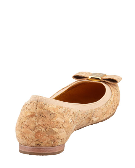 tock elastic-trim ballerina flat, natural cork