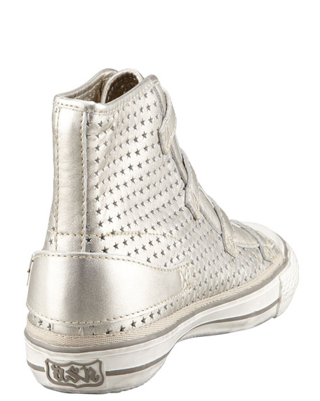 Star Cutout Metallic High-Top Sneaker