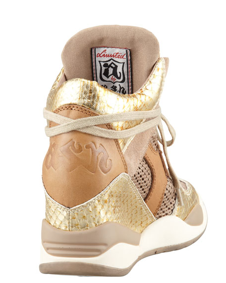 Mesh & Leather Wedge Sneaker, Antic Gold