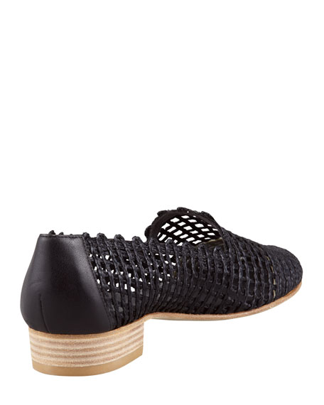 Intermez Flat Woven Twine Loafer, Black