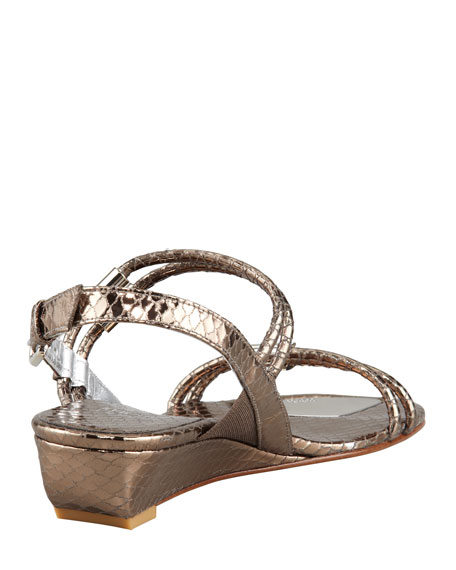 Rolldown Metallic Micro-Wedge Sandal