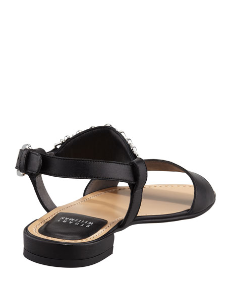 Bars Ankle-Ornament Flat Sandal
