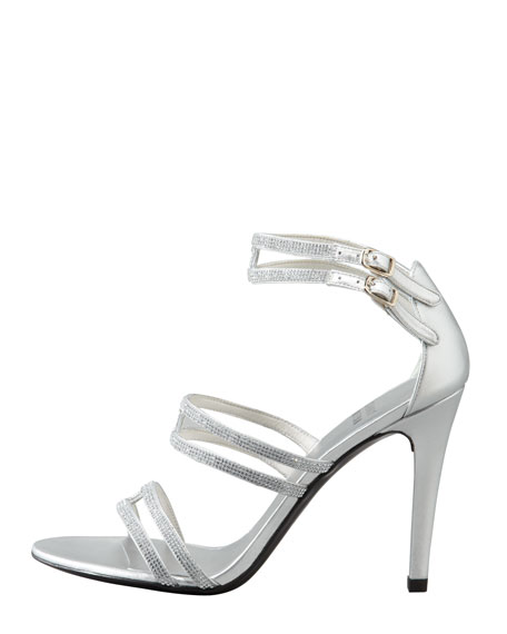 Stops Traffic Crystal Strappy Sandal, Silver