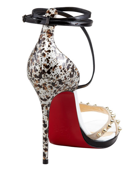 Monocronana Patent Leather and Suede Studded Sandal