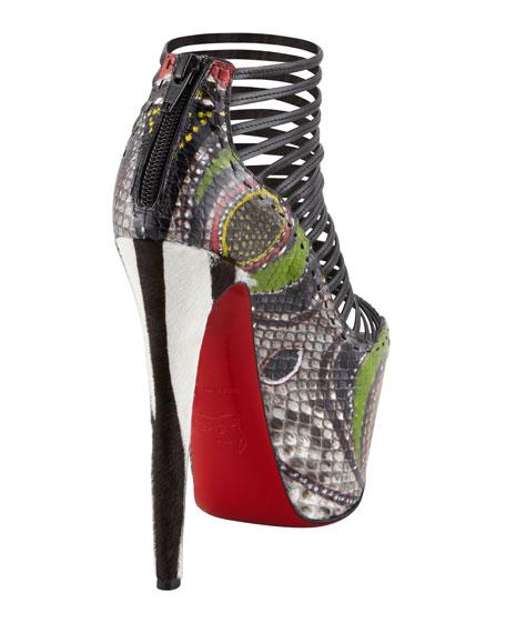 Zoulou Python Strappy Platform Red Sole Sandal