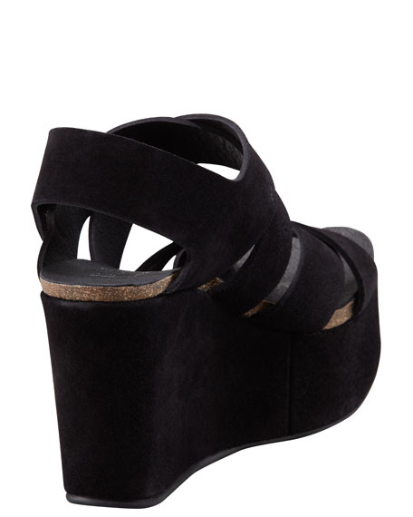 Delsie Suede Crisscross Wedge Sandal, Black