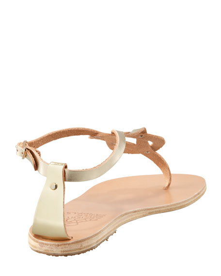 Hercules Knotted Thong Sandal, Platinum