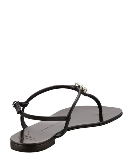 Drop Stone Thong Sandal, Black