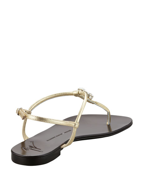 Drop Stone Metallic  Thong Sandal, Gold