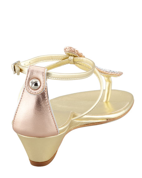 Strass T-Strap Wedge Sandal, Gold