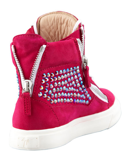 High-Top Crystal-Panel Sneaker, Fuchsia