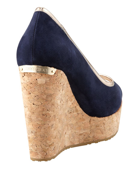 Papina Suede Cork Wedge, Navy