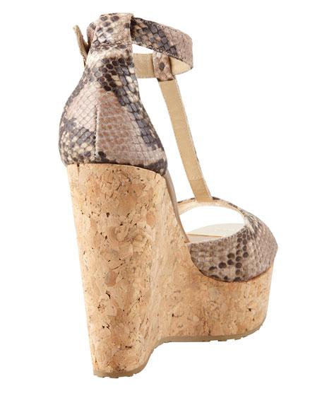 Pela Snake-Print Wedge Sandal