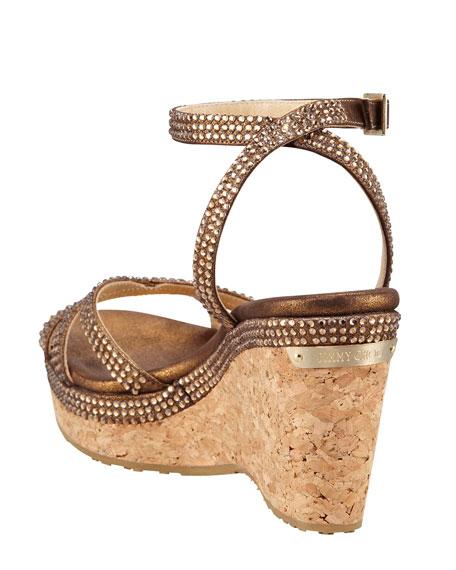 Prose Crystal-Embellished Ankle-Wrap Cork Wedge