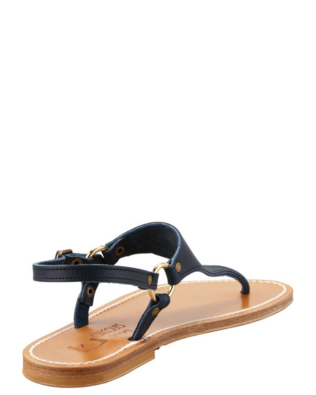 Triton Slingback Flat Thong Sandal, Ocean Navy
