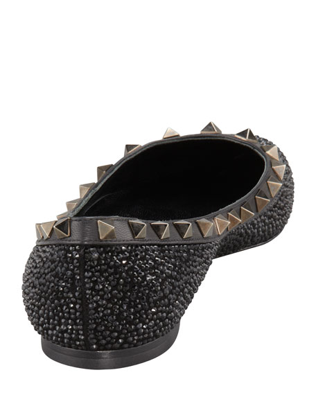 Rockstud Crystal-Covered Ballerina Flat