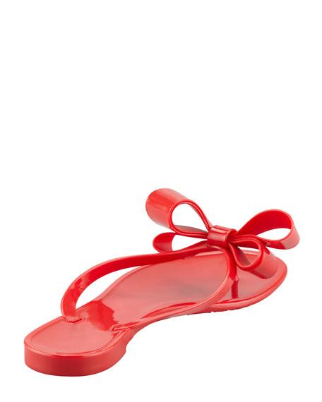 PVC Bow Thong Sandal, Black
