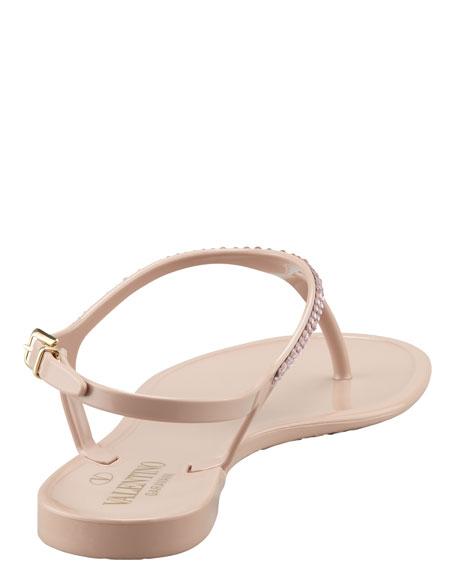 Crystal-Encrusted PVC Slingback Sandal, Poudre