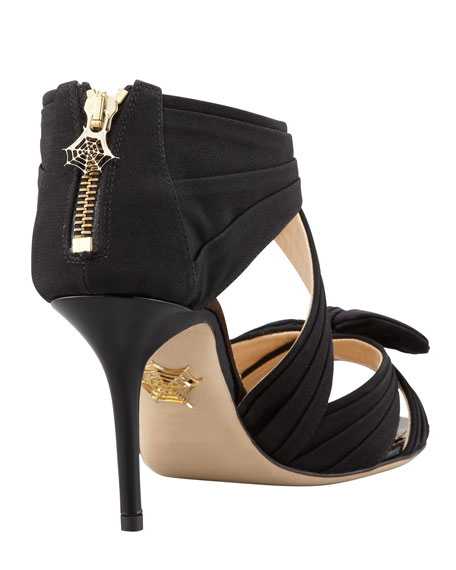 Patricia Crisscross Bow Sandal, Black