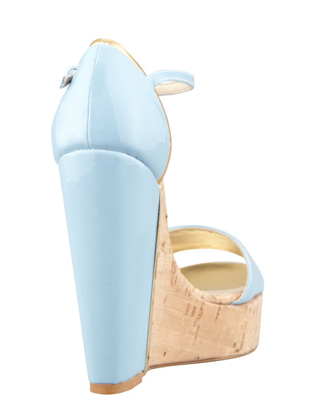 d'Orsay Patent Cork Wedge, Sky