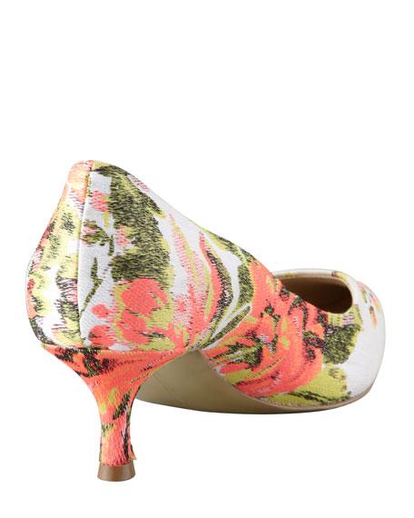 Floral Jacquard Kitten-Heel Pump