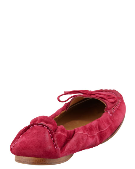 Suede Scrunch-Collar Flat, Hot Pink