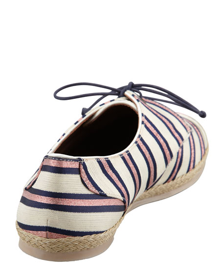 Tie-Striped Flat Espadrille Sneaker, Pink/Navy