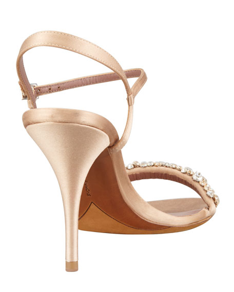 Deon Crystal-Strap Satin Sandal, Nude