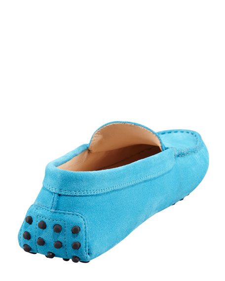 Suede Gommini Moccasino, Turquoise